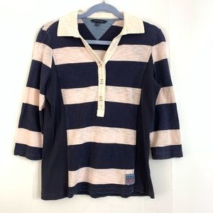 TOMMY HILFIGER M Pink Blue Striped 3/4 Sleeve
